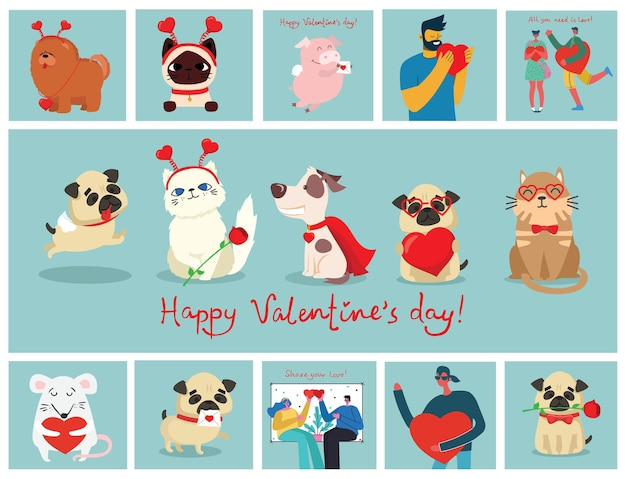 Carte di illustrazione di san valentino di animali domestici felici