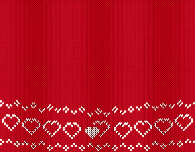Modello senza cuciture a maglia di san valentino. sfondo con cuori. struttura lavorata a maglia rossa.