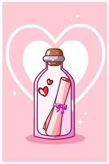 Valentine love letter in the bottle kawaii cartoon illustration
