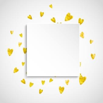 Distintivo di carta di san valentino con cuori glitter oro.