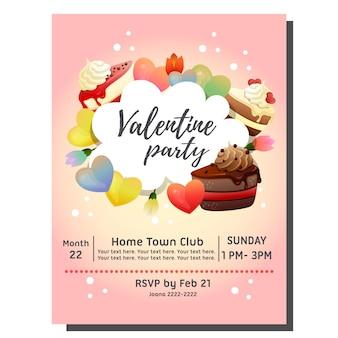 Carta di invito festa di san valentino con una fetta di torta al cioccolato