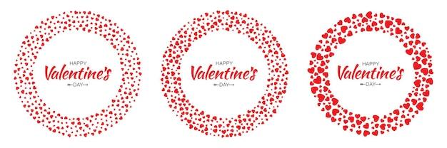 Valentine red hearts circle frame per valentine day design card.