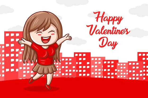 Fumetto sveglio dell'illustrazione disegnata a mano della bandiera di san valentino
