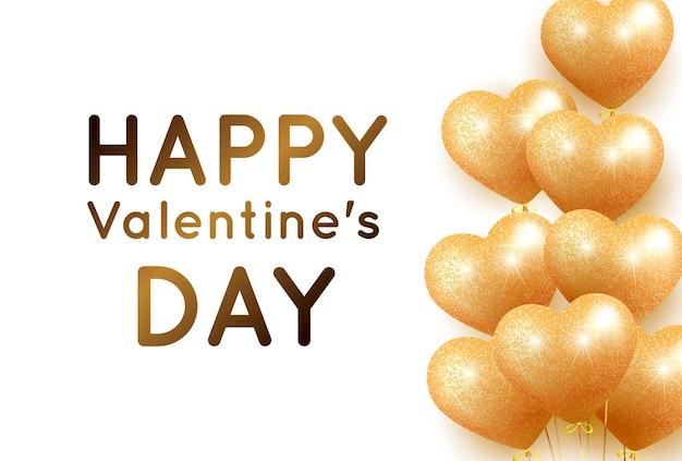 Biglietto di san valentino con palloncini d'oro e brillantini lucidi a forma di cuore e posto per il testo.