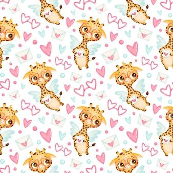Reticolo senza giunte degli animali di san valentino. modello senza cuciture di cupido giraffa sveglio del fumetto.