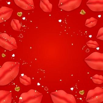 Disegno di sfondo di san valentino con labbra e cuori realistici.