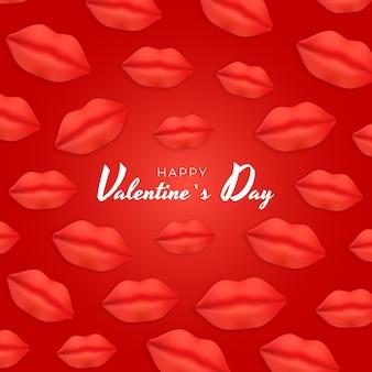 Disegno di sfondo di san valentino con labbra realistiche.