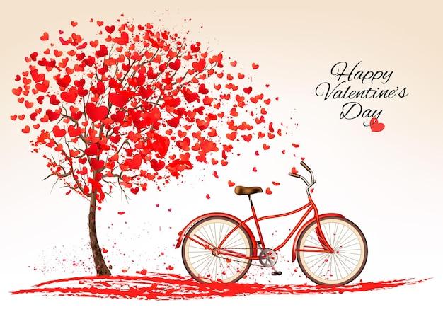 Sfondo di san valentino con una bici e un albero fatto di cuori. vettore.