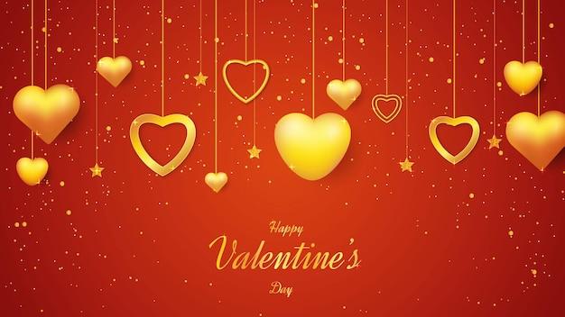 Sfondo di san valentino con forma d'amore d'oro