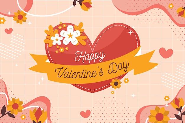 Sfondo di san valentino con saluto e cuore