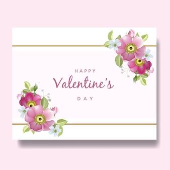 Sfondo di san valentino con fiori disegnati a mano