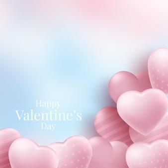 Sfondo di san valentino con palloncini cuore