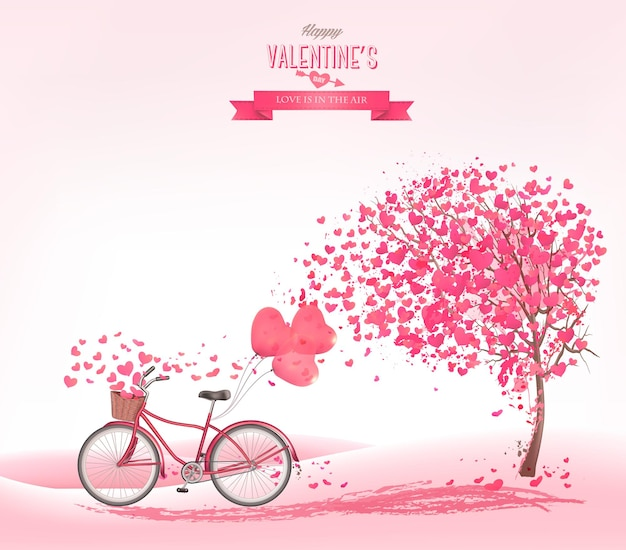 Sfondo di san valentino con un albero a forma di cuore e una bicicletta.