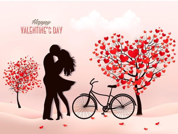 Sfondo di san valentino con una silhouette coppia che si bacia, albero a forma di cuore e una scatola.