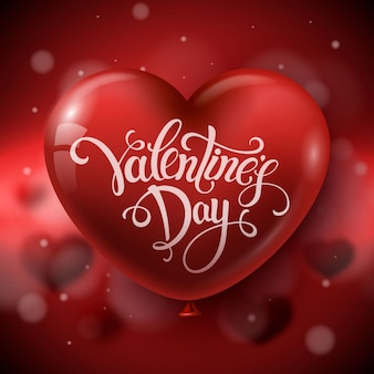 Sfondo di san valentino con palloncino cuore rosso.