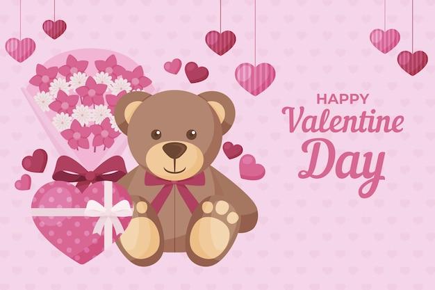 Sfondo di san valentino con orsacchiotto