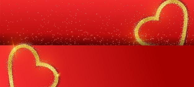 Sfondo di banner di san valentino con cuore glitter oro.