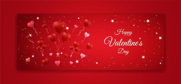 San valentino banner design con forma di amore