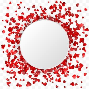 Banner di san valentino. banner cornice rotonda cuori
