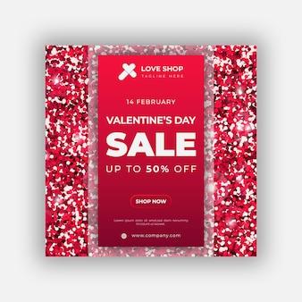 Banner di san valentino o modello di post sui social media con glitter