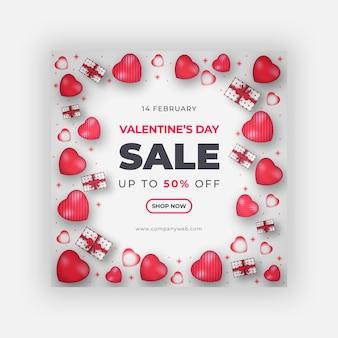 Banner di san valentino o modello di post sui social media Vettore Premium