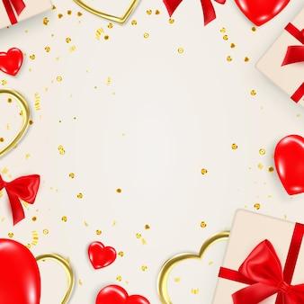 Modello di banner di san valentino con elementi decorativi