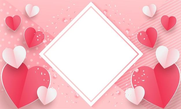 Banner di san valentino con cuori di carta 3d rossi e rosa con cornice quadrata bianca.