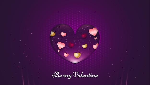 Banner di san valentino con cuori colorati e mongolfiere su carta