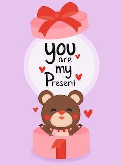 Banner di san valentino con simpatico orso su sfondo pastello.