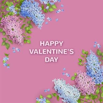 Banner di san valentino con fiore in fiore