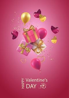 Banner di san valentino con scatola regalo volante, cuori e palloncini. illustrazione