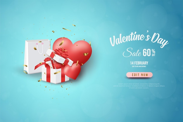 Banner di san valentino con scatole regalo, regali d'amore e borse della spesa.