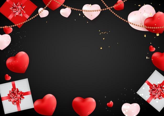 Banner di san valentino con cuori.