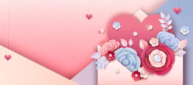 Banner di san valentino con fiori di carta che salta fuori dalla busta, illustrazione 3d