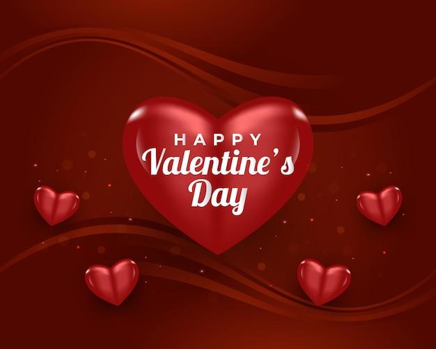 Banner di san valentino con cuori rossi realistici e sfondo scintillante di oggetti