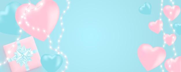 Banner di san valentino con ghirlanda di luci brillanti, lampadine, cuori.