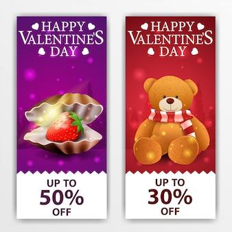 Banner di san valentino con conchiglia di perle e orsacchiotto