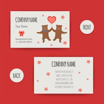 Biglietto da visita di san valentino con orsi. stile cartone animato. illustrazione vettoriale.