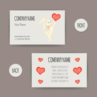 Biglietto da visita di san valentino con un coniglietto. stile cartone animato. illustrazione vettoriale.