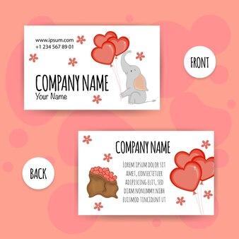 Biglietti da visita di san valentino con simpatico elefante. stile cartone animato. illustrazione vettoriale.