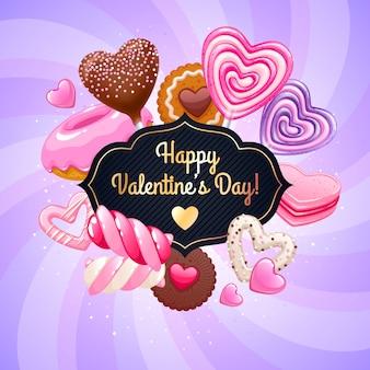 Fondo variopinto delle caramelle e dei dolci di san valentino.