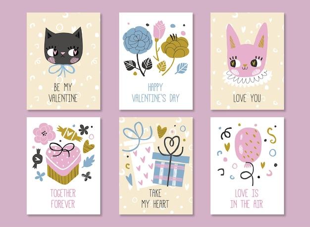 Collezione di carte di san valentino con simpatico gatto e coniglio