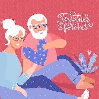 Carta di san valentino. carino, adorabile coppia senior innamorata, scena romantica. il vecchio dà cuore a sua moglie