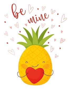 Carta di san valentino. ananas simpatico cartone animato con cuore e scritte.