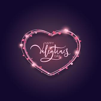Design della carta di san valentino con linee a forma di cuore. illustrazione