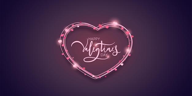 Design della carta di san valentino con linee a forma di cuore.