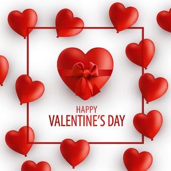Carta di san valentino. udite rosse realistiche con nastro e fiocco.