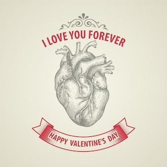 Carta di san valentino. cuore incisione retrò
