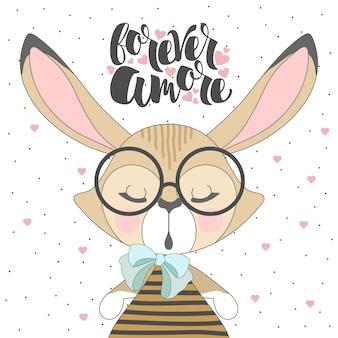Carta di san valentino. coniglietto romantico e scritte a mano per sempre amore