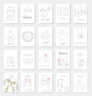 La carta di san valentino ha impostato con stile disegnato a mano